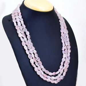 Triple Strand Pink Rose Quartz Beads Necklace